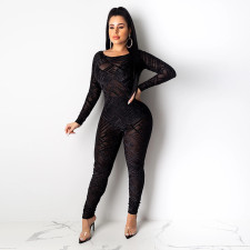Sexy Mesh See Through Long Sleeve Bodycon Jumpsuit SH-3708