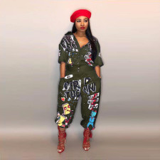 Plus Size Letters Short Sleeve Loose Jumpsuits LSD-8103