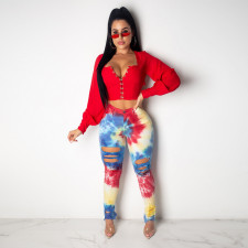 Plus Size Tie Dye Print Ripped Holes Jeans Pants SH-3621