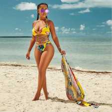 Sexy Printed 3pcs Bikinis Sets+Long Cloak PN-6323