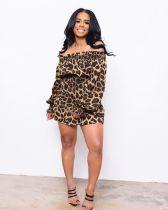 Sexy Leopard Print Slash Neck Waist Mini Dress RSN-726