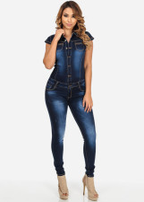 Casual Denim Short Sleeve Jeans Jumpsuits LX-929