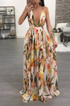 Sexy Floral Print Deep V Neck Cross Strap Maxi Dress NK-8212