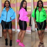 Solid Color Long Sleeve Two Piece Shorts Set LSD-8612