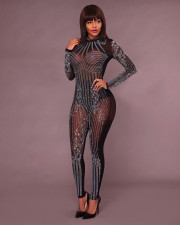 Sexy Hot Drilling Mesh Long Sleeve Bodycon Jumpsuit ME-034