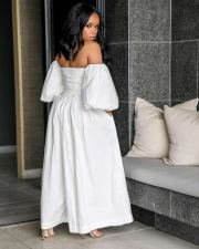Plus Size Off Shoulder Wide Leg Jumpsuits OD-8297