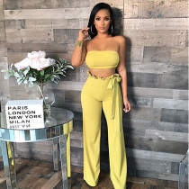 Sexy Tube Tops Wide Leg Pants 2 Piece Sets BN-9808