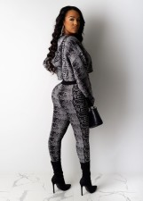 Snake Skin Print Hooded Two Piece Pants Set ML-7275
