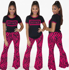 Casual Letter Printed Flared Pants 2 Piece Sets ML-7255