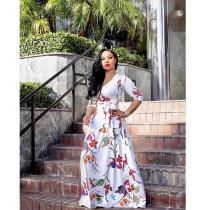 Plus Size Floral Print V Neck Long Maxi Dress NK-8193