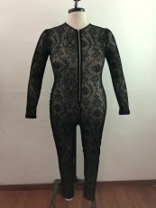 Plus Size Mesh Zipper Long Sleeve Jumpsuits OSM2-5269