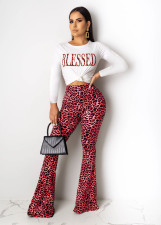 Leopard Letter Print Long Sleeve Flared Pants Set ML-7258