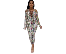 Colorful Printed Off Shoulder Long Sleeve Maxi Dress YSF-329