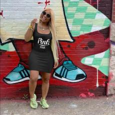Pink Letter Print Sleeveless Mini Tank Dress Plus Size RSN-731