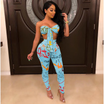 Sexy Printed Tube Top Long Pants Two Piece Set SH-3629
