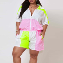 Plus Size Patchwork Tracksuit Two Piece Shorts Set ONY-5009