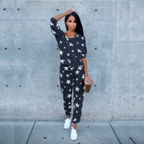 Star Print Long Sleeve Two Piece Pants Set TE-3315
