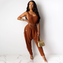 Solid Sleeveless Harem Pants Jumpsuits YIY-5129