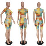 Tie Dye Printed Mesh Perspective 2 Piece Sets SHD-9111