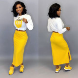Casual Solid Color Long-Sleeved Long Skirt Two-piece Suit SHD-9168