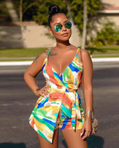Sexy Printed V Neck Backless Rompers BS-1170