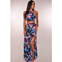 Bohemia Floral Print Backless Maxi Skirt 2 Piece Set YF-9205