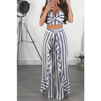 Sexy Striped Ruffles Wide Leg Pants 2 Piece Sets YF-9206
