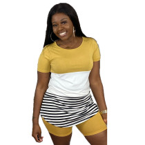 Plus Size Casual Striped T Shirt And Shorts Set LUO-3054-1