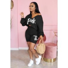Plus Size Pink Letter Print Long Sleeve 2 Piece Shorts Set QY-Q5176