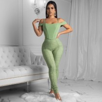 Plus Size Mesh Ruched Sexy Two Piece Pants Suit MTY-6272