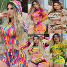 Casual Printed Hooded Two Piece Shorts Set SFY-116