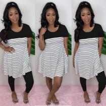 Casual Striepd Loose Tops Leggings Two Piece Sets HMS-5298
