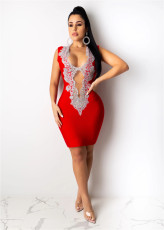 Sexy Sequined Hollow Out Sleeveless Bodycon Dress OSM-AJ4107