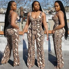 Snake Skin Print Sleeveless One Piece Jumpsuits OSM-AJ4102