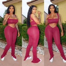 Solid Crop Top Split Stacked Pants Two Piece Sets OSM-XM6080