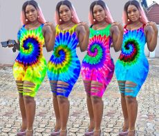 Plus Size Tie Dye Hollow Sleeveless Rompers RSN-741