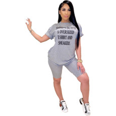 Letter Print T Shirt Shorts Casual 2 Piece Sets FNN-8360-2