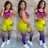Pink Letter Print Gradient 2 Piece Pants Suit Plus Size MTY-M6303