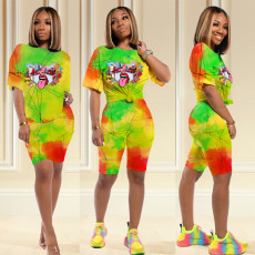 Printed Short Sleeve Two-piece Set YH-HY5136