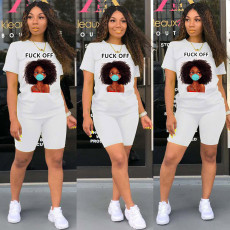 Plus Size Cartoon Print T Shirt Shorts 2 Piece Sets NM-N8104
