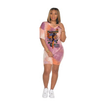 Cartoon Print Tie Dye V Neck Two Piece Shorts Set MX-10877