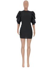 Black Puff Sleeve Patchwork Mini Dress CQ-5310