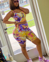 Tie Dye Print Tank Top And Shorts 2 Piece Suits JH-H150