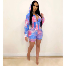 Tie Dye Hooded Waist Two Piece Shorts Set JH-H146