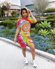 Tie-dye Printed Short-Sleeved T-shirt Shorts Suit MIL-L097