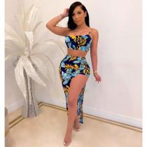 Sexy Floral Print Tube Top Irregular Long Skirt Sets SHA-6136