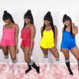 Solid Cami Tops And Shorts Two Piece Sets SHD-D9227