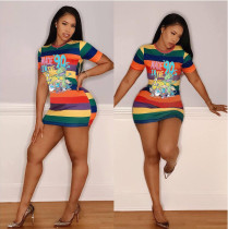 Colorful Stripe Cartoon Short Sleeve Mini Dress ML-M7315