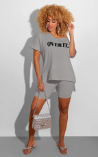 Letter Print V Neck T Shirt Shorts 2 Piece Sets SFY-H107