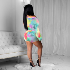 Sexy Tie Dye Puff Sleeve Two Piece Shorts Set NIK-110